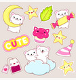 set cute polar bears stickers in kawaii style vector image vector image