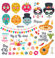 set elements for day dead dia de los vector image vector image