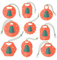 set of tags with flat christmas tree vector image vector image