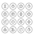 set round line icons of time vector image