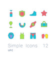 set simple line icons ufc vector image vector image