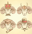 Sketch unusual rams set vector image vector image