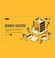 summer vacation isometric web banner vector image vector image