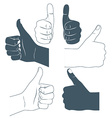 Thumbs up Drawn by hands icons Flat style vector image vector image