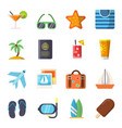 travel icons set isolate on white vector image