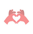 two hands making heart sign love romantic vector image vector image