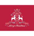 Vintage Merry Christmas text with reindeers design vector image
