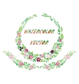 watercolor beautiful flowers with leaves vector image