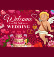 wedding invitation cake gifts cupid and hearts vector image vector image