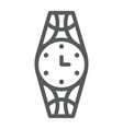 wristwatch line icon clock and accessory watch vector image vector image