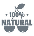 100 percent natural logo simple style vector image vector image