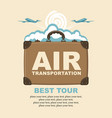 banner with planes suitcase and clouds vector image vector image