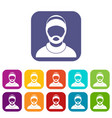 bearded man avatar icons set vector image vector image