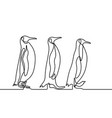 continuous line drawing three penguins follow each vector image vector image