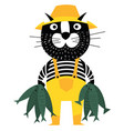 cool cartoon cat like fisherman holding fishes vector image