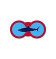 dark shark on the background of red binoculars vector image vector image