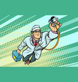 doctor physician with stethoscope flying superhero vector image