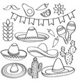 doodle mexico symbol collection isolated in black vector image vector image