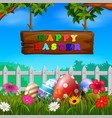 easter eggs at the fence with wood sign vector image vector image