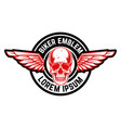 emblem with winged skull design element vector image vector image