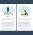fishing or angling hobby or sport activity poster vector image