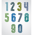 Geometric numbers with halftone lines print vector image