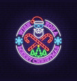 happy new year neon sign with santa claus vector image vector image