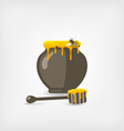 honey pot with bee and wooden dipper vector image vector image