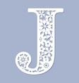 laser cutting pattern letter j vector image