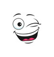 laughing smiley with broad open mouth winked eyes vector image