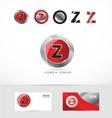 Letter Z metal red logo vector image