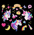 Magic unicorn icon set with magic wand stars with