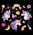 magic unicorn icon set with wand stars vector image