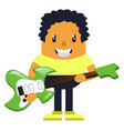 man holding green guitar on white background vector image vector image