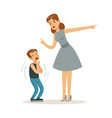 mother character scolding her frightened son vector image vector image