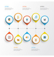 music flat icons set collection of audio tone vector image vector image
