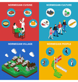 NorwayTravel Isometric 4 Icons Square vector image