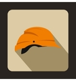 Orange hardhat icon flat style vector image vector image