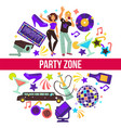 party zone man and woman at night club vector image