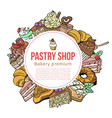 pastry shop sketch template for desserts vector image