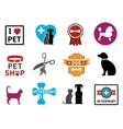 pet veterinary icons vector image vector image