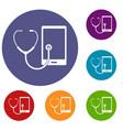 phone diagnosis icons set vector image