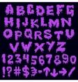 Purple font smudges alphabet splashing vector image