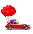 red cartoon cabriolet car full of gift boxes and vector image