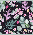seamless pattern with green and pink leaves vector image