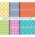 set of seamless floral striped patterns vector image vector image