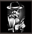 skeleton gangster with revolvers in suit vector image vector image