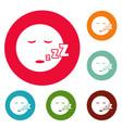 sleep smile icons circle set vector image
