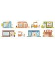 small business building set cafe hair salon shop vector image vector image
