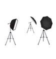 soft box and black umbrella reflectors vector image vector image